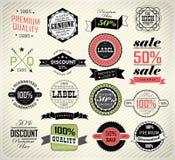 Högvärdiga kvalitets-, garanti- och försäljningsetiketter Royaltyfria Foton