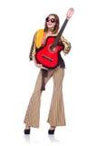 Högväxt gitarrspelare Arkivbild