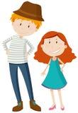 Högväxt man och kort flicka Arkivfoton