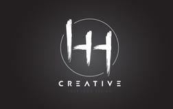 HH Brush Letter Logo Design Logo scritto a mano artistico C delle lettere Fotografia Stock