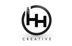 HH Brush Letter Logo Design Logotipo escovado criativo do ícone das letras Fotos de Stock
