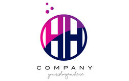 HH H H Circle Letter Logo Design avec Dots Bubbles pourpre Image stock