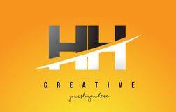 HH H H Letter Modern Logo Design avec le fond jaune et le Swoo illustration libre de droits