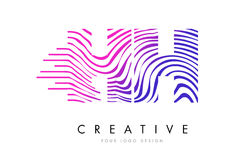 HH H H Zebra Lines Letter Logo Design with Magenta Colors Stock Image