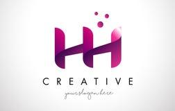 HH Letter Logo Design con i colori porpora ed i punti Immagini Stock