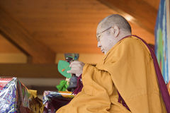 HH Penor Rinpoche, Tibetan-born Supreme Head of Nyingmapa Buddhism, presides over Amitabha Empowerment at Meditation Mount in Ojai Royalty Free Stock Image