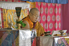 HH Penor Rinpoche, Tibetan-uthärdat suveränt huvud av Nyingmapa buddism, är ordförande över Amitabha bemyndigande på meditationmo arkivbild