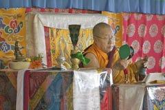 HH Penor Rinpoche, Tibetan-uthärdat suveränt huvud av Nyingmapa buddism, är ordförande över Amitabha bemyndigande på meditationmo royaltyfri bild