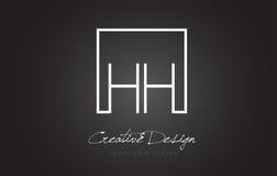 HH Square Frame Letter Logo Design mit Schwarzweiss-Farben Stockbilder