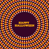 HHappy halloween inscription with small candy corns arranged in circle. Holiday trick or treat concept greeting card Stock Photography