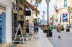 HHERAKLION, GREECE - November, 2017:the central pedestrian 25 August Street of Heraclion, Crete. HERAKLION, GREECE - November, 2017: 25 August Street Stock Photos