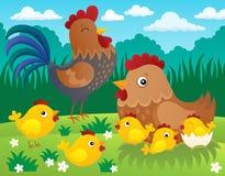 Hühnerthemabild 3 Stockfoto