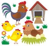 Hühnerthematischer Satz 2 Stockfoto
