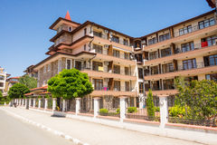 Hholiday complex in the Ravda, Bulgaria. Ravda - ancient Bulgarian seaside town famous discoveries of ancient Slavic settlements. Located on the past in the royalty free stock image
