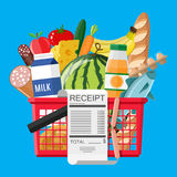 Hhopping basket full of groceries and receipt. Plastic shopping basket full of groceries products and receipt. Grocery store. Supermarket. Fresh organic food and Stock Image