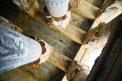 Hiërogliefen en tekeningen in de tempel van Hatshepsut stock afbeeldingen