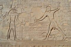 Hiëroglyfische gravures op een Egyptische tempelmuur stock fotografie