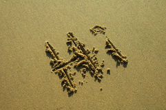 HI. 'HI' written in sand on a beach, hot weather Stock Photography