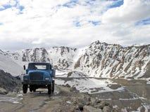 Hi altitude moutain road in Leh-Ladakh region of Indian himala. Desolate snow covered  mountain roads in Leh region of Indian himalayas Stock Images