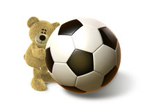 Hi Bear hugs a big Soccer Ball, front Royalty Free Stock Photo