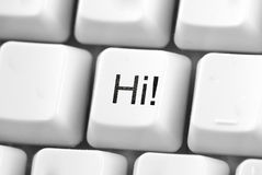 Hi! button. White computer keyboard with concept button Royalty Free Stock Photography