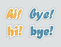 Hi and bye. Stickers for social networks. Vector illustration. Hi  and bye. Stickers for social networks. Vector illustration Stock Photos