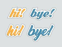 Hi and bye. Stickers for social networks. Vector illustration Stock Photos