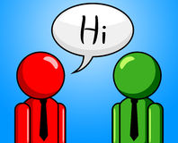Hi Conversation Shows How Are You And Chinwag Royalty Free Stock Images