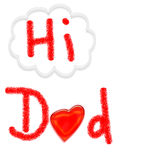 HI DAD card - child's artwork on white background Stock Photography