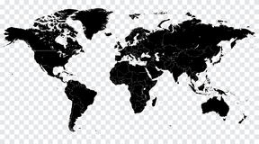 Hi Detail Black Vector Political World Map illustration royalty free illustration