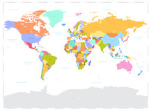 Hi Detail Colored Vector Political World Map Illustration Royalty Free Stock Photos