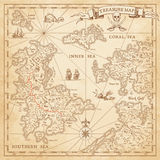 Hi detail Vector Treasure Map. A Hi detail grunge Vector Treasure Map with lots of decoration hand drawn with incredible details Stock Photos
