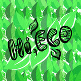 Hi eco. Hi, ECO. Doormat of the green grass with calligraphic inscription Hi, ECO stock illustration