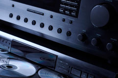 Hi-end Audio System. With compact disks in tray stock photography