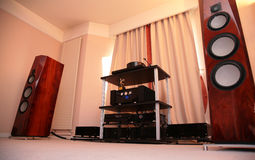 Hi-end audio system. On modern interior Royalty Free Stock Image