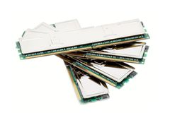 Hi-End Computer Memory Modules (isolated on white). Shot of the hi-end computer memory modules on a white background with pretty shadow royalty free stock photos