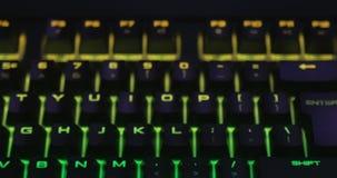 Hi-End Multi Colored Led Keyboard Panning In Dark Environment. Cinema 4K stock video footage