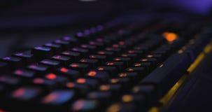 Hi-End Multi Colored Led Keyboard Panning In Dark Environment. Cinema 4K stock footage