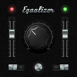 Hi-End UI Analog Volume Equalizer Level Mixer, Volume Plastic Knob Chrome On Leather Background. Stock Photo