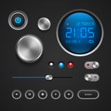 Hi-End User Interface Elements: Buttons, Switchers, On, Off, Player, Audio, Video: Play, Stop, Next, Pause, Volume Royalty Free Stock Photos