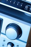 Hi-fi. Detail of a hi-fi system in blue tone stock photography