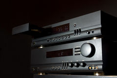 Hi-Fi Audio System. Isolated on black with open CD tray stock photos