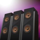 Trzy floorstanding mówcy Zdjęcie Royalty Free