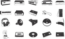 Hi-fi equipment illustrations. Collection of illustrations depicting various audio equipment and items such as VCRs, radios, tapes etc Stock Photography