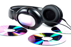 Hi-Fi headphones and CD discs Royalty Free Stock Photos