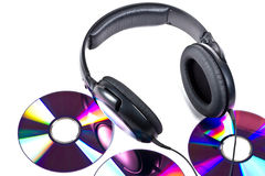 Hi-Fi headphones and CD discs Stock Image
