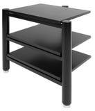 Hi-fi high fidelity rack. Hi fi rack in black color Stock Photo