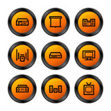 Hi-fi icons, orange series Royalty Free Stock Images