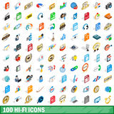 100 hi-fi icons set, isometric 3d style. 100 hi-fi icons set in isometric 3d style for any design vector illustration Stock Illustration