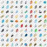 100 hi-fi icons set, isometric 3d style. 100 hi-fi icons set in isometric 3d style for any design vector illustration Royalty Free Illustration